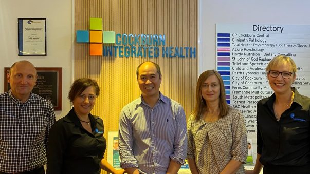 Paediatric Respiratory Hub Photo: (left to right) We are proud to work alongside Clory Carello – CEO, Cockburn Integrated Health, Jenny Howson – GM Health Services, Asthma WA, Dr Steven Oo – Paediatric Respiratory Consultant, Fiona Stanley Hospital and Perth Children's Hospital, Melissa Flavel, Respiratory Technician, Rael Rivers – Manager, Learning and Development, Asthma WA.